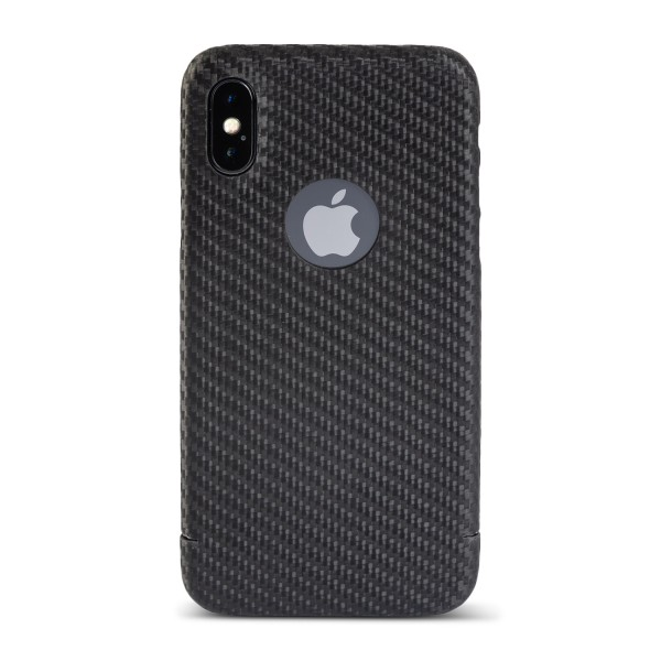 Carbon Cover iPhone X mit Logo Window